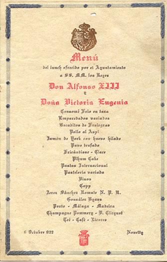 Menú Novelty visita Alfonso XIII