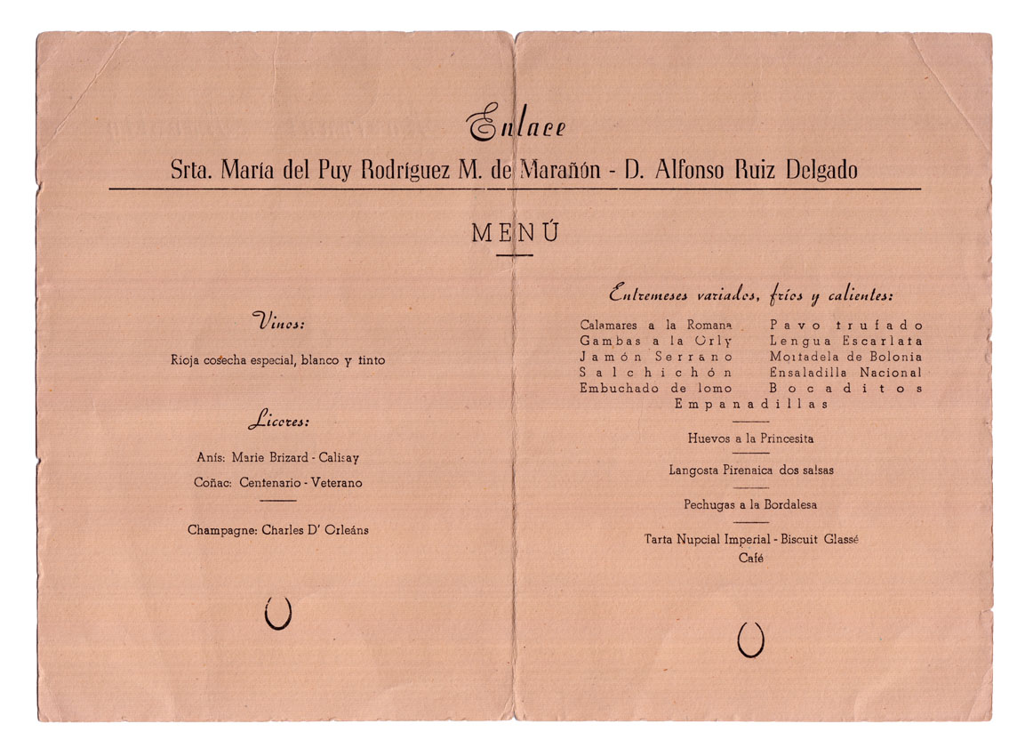 Platos servidos boda 1953